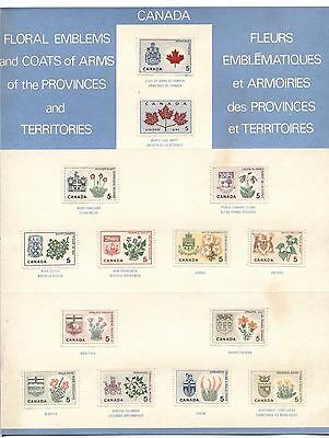 Provincial Flowers & Coats Of Arms On Canada 1964-1965 P.o. Panel - Not Folded