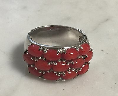 Sterling Silver 925 Red Band Ring Signed NF Size 9