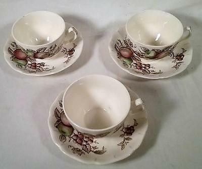 3 Vintage Johnson Bros Harvest Time Tea Cups & Saucers Made In England
