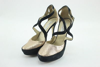 335cad07709 AUTHENTIC JIMMY CHOO Black Suede   Gold Glitter Pump Heels Size 10.5 ...