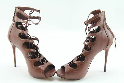 NWT $1,125 Alexander McQueen Brown Lace-Up Leather Ankle Pump Heels Size 9