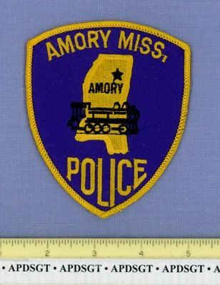 AMORY MISSISSIPPI Sheriff Police Patch OLD RAILROAD TRAIN STEAM LOCOMOTIVE