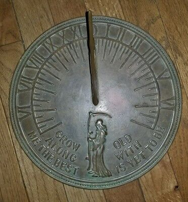 Vintage 11in Brass Sundial Grow Old Along With Me The Best Is Yet To Be taiwan