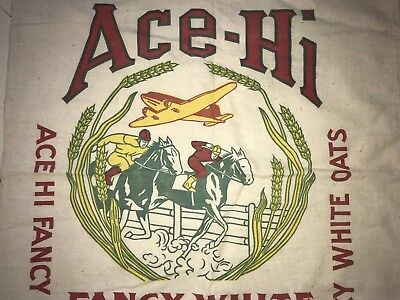 Antique Advertising Horse Airplane Ace Seed Feed Sack Bag Oats Los Angeles Cali