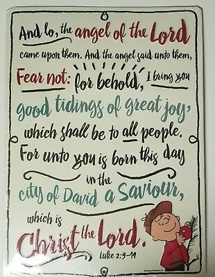 """Snoopy Peanuts Embossed Metal Tin Sign Christmas 'Christ The Lord' - 9.5"""" x 13"""""""