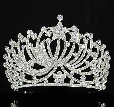 Stars Clear Austrian Rhinestone Crystal Tiara Crown With Hair Comb Pageant T899