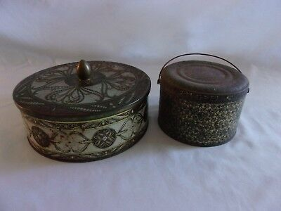 Pair of 2 Antique - Vintage Rustic Rusty Salvaged Tins