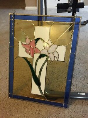 Vintage Church Stained Glass Picture Window Cross With Flowers