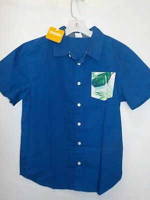 BOYS SIZE SMALL 5-6 GYMBOREE ROYAL BLUE PALM BUTTON FRONT SHIRT NEW NWT #7005