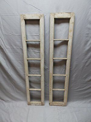 Pair Antique Transom Sidelight Windows Shabby Vintage Chic 5 Lite 50x10   90-18P