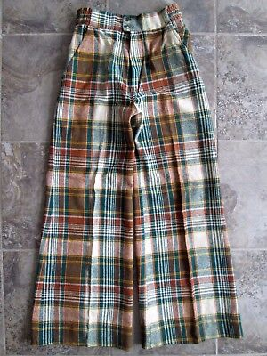 VTG Young Timers Wool Pants 26x30 Bell Bottoms New York Hippy Brown Plaid Wide