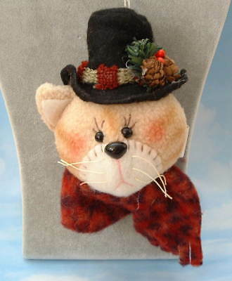 New Handcrafted Folk Cat in Stovepipe Hat w Pinecones & Scarf Christmas Ornament
