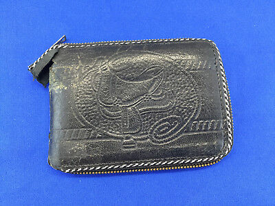 Vintage Leather Wallet Western Style With A Saddle Very Old Collector Piece