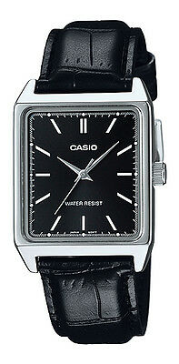 Casio MTP-V007L-1E Men's Rectangular leather Strap Black Dial Analog Dress Watch