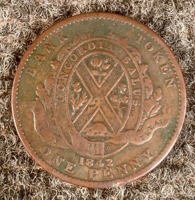 1842 Province Of Canada Bank of Montreal One Penny Colonial Coin Token