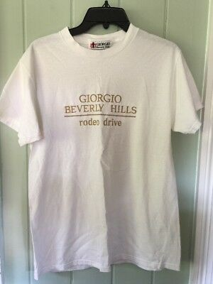 Vintage Mens M 80s 90s Giorgio Beverly Hills Stitched Embroider Boutique T-Shirt