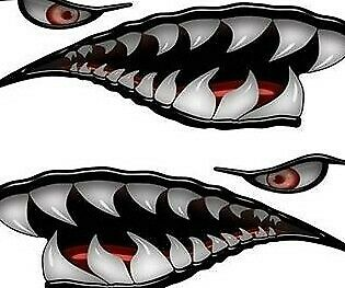 Flying Tigers Shark Teeth Decals Black WWII Motorcycle Truck Car Boat REFLECTIVE