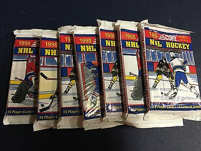 Lot Of 7 Packs Of 1990 Score Premier Edition NHL Hockey Plastic Wax Pack Sealed