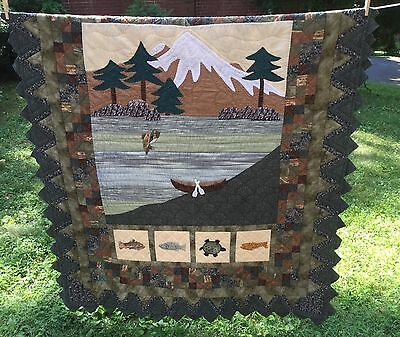 """Mountain Pictorial Quilt-Praire Points-Fish 53"""" x 65.5"""" By Donna Sharp     *863"""