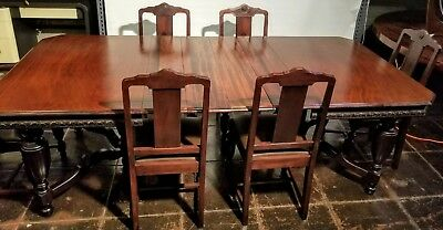 C.1920 Spanish Revival Dining Suite - Table with 4 Leaves and 6 Dining Chairs