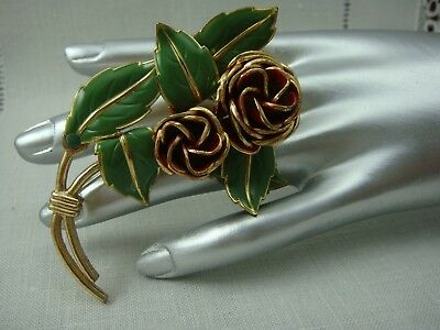 Vintage Red Green Enamel Rose Brass Large Pin Brooch - Exceptional