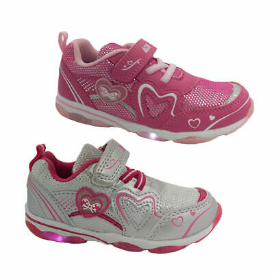 Girls Shoes Activ Mira Runner Light up Sole Hook and Loop 2 colours Size 5-12