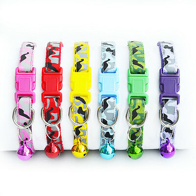 Adjustable Camo Pet Cat Dog Puppy Glossy Reflective Bow Collar Safety With Bell