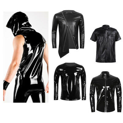 Sexy Men's Latex Leather Hip-Hop T-shirt Crop Top Vest Tee Shirt Tight Nightclub