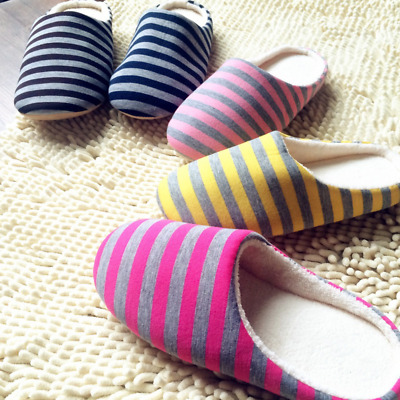 Unisex Striped Couples Women Men Warm Indoor Slippers Non Slipping Home Shoes