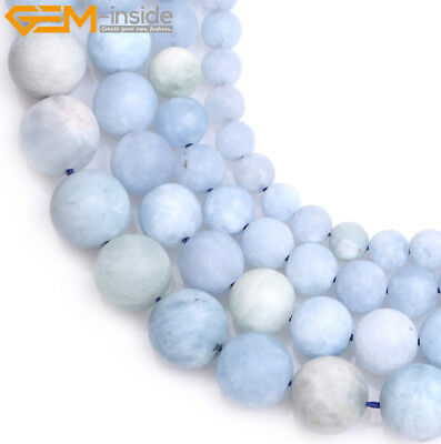 Natural Round Matte Frost Blue Aquamarine Gemstone Loose Beads Jewelry Making