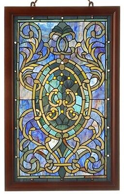 Stained Glass Panel for Windows Tiffany Style Suncatcher Victorian Wooden Framed