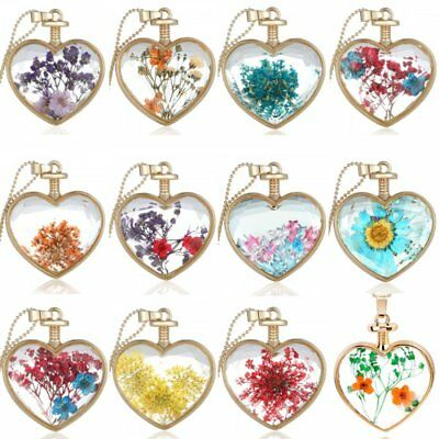 Retro Transparent Resin Dried Flower Daisy Heart Pendant Necklace Chain Jewelry