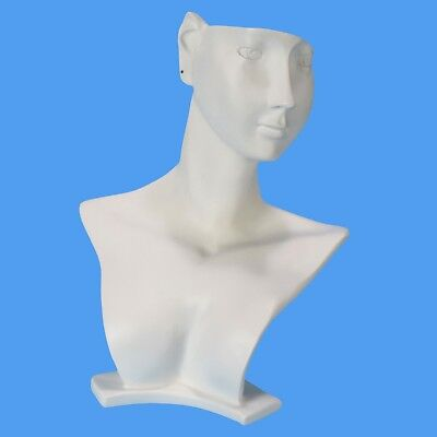 White Figurine Jewelry Neck Form Bust Necklace Earring Display Stand