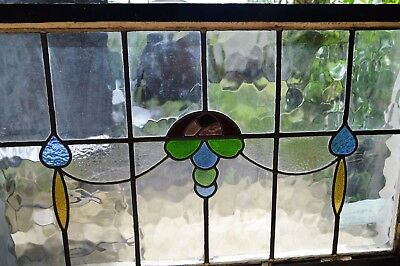 Antique Leaded English Stained Glass Huge Window Wood Frame England Old House 89