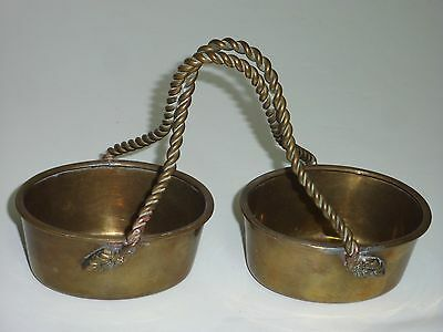 Vintage Wrought Brass Caddy, Two Baskets Tied Together