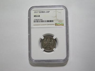 Serbia 1917 20 Para Crowned Double Eagle Ngc Ms64 Old World Coin Collection Lot