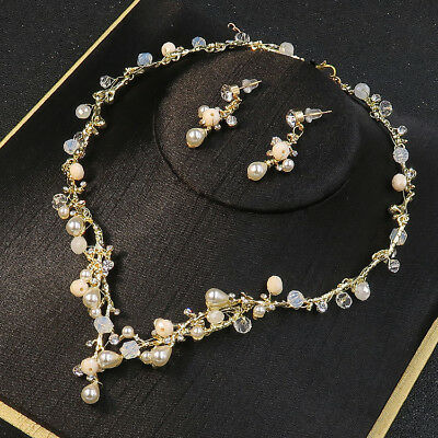 Elegant Golden Pearl Crystal Necklace Earrings Set Wedding Party Pageant Prom