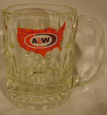 "A&W Root Beer Mug USA Map Logo 4.25 "" High VGC Estate Diner Heavy Dimple vintage"