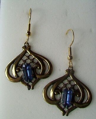 ANTIQUE FINISH Dangle Earrings-ART DECO FILIGREE DROP-DARK BLUE GLASS ACCENT