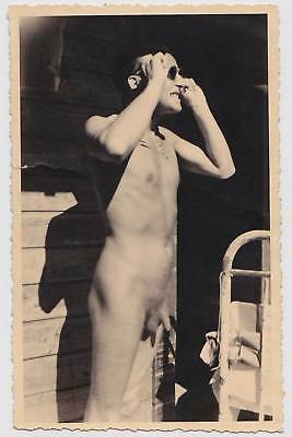 Male Nude with Sunglasses, German Real Photo Postcard: Gay Interest