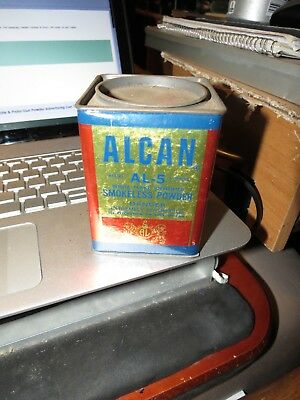 Vintage OLD ALCAN  Gun Powder Advertising Can Tin