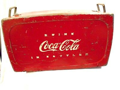 Vintage 40's Drink Coca Cola in Bottles Metal Cooler w/Top-Progress Refrig Co
