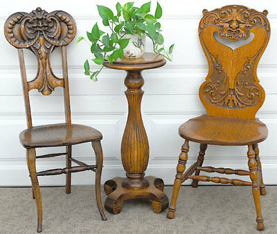 Antique c1900 American Oak rich Irish carving chair - ONE of 2! Superb condition