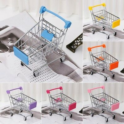 Mini Trolley Toy Supermarket Utility Carts Storage Folding Shopping Cart Basket