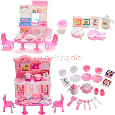 1 Set Kitchen Tableware Furniture Dining Table Cabinet for Barbie Doll House