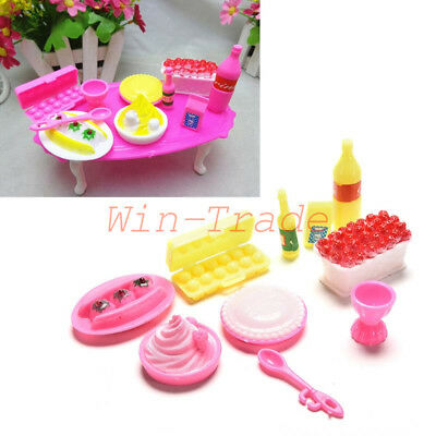 10Pcs Kitchen Food Cake Dinner Tableware Furniture Barbie Doll House Accessories