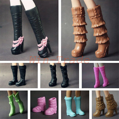 5 Pair Long Boots Casual High Heel Shoes Accessories for Barbie Doll Mix Style