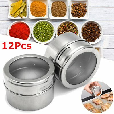 6/12/24Pcs Stainless Steel Spice Tin Storage Container Jar Clear Lid Kitchen Set