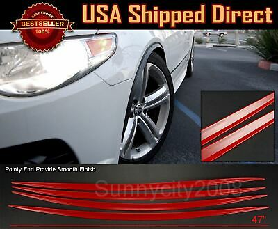 4 Pieces Flexible Slim Fender Flare Lip Extension Red Protector Trim For Chevy