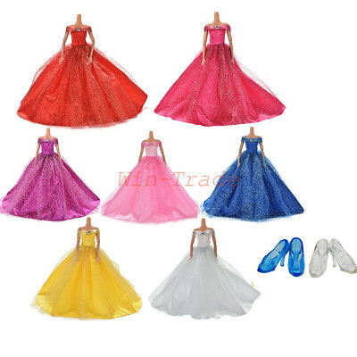 Wedding Princess Evening Party Dress Clothes Ball Gown with Shoe for Barbie Doll